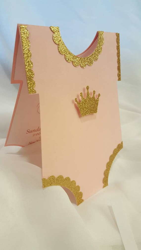princess onesie baby shower invitations