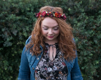 Floral half wreath Red autumn wreath Half wreath with forest fruits Hair accessories Floral headband