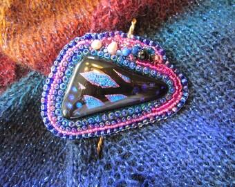 Dichroic Glass Bead Applique Shawl Pin