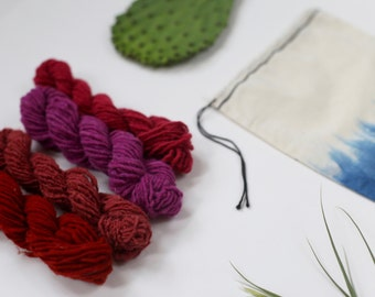 Naturally Dyed Weaving Yarn Pack w/ Indigo Drawstring Bag: Vibrant Reds Colorway