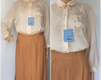 New Old Stock 1950s Chiffon Blouse with Butterfly Rhinestone Detail - Size Small/Medium Vintage
