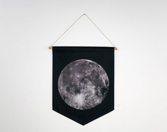 Moon, Screen Printed Canvas Banner - Motivational Typography Short Quote Poster for Wall Decor