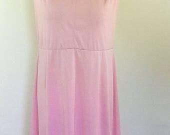 Vintage 70s dress by Mortimer pink v neck dress and v back with tie size extra large