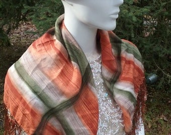 German Green and Rust Fringed Silk Scarf