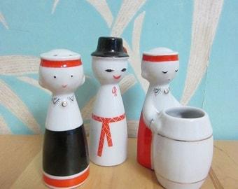 1960s Art Deco-inspired Latvia Lettland Riga porcelain cruet set