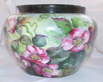 Antique Porcelain Jardiniere Clematis Hand Painted Vienna Austria PH Leonard Green Floral Planter Vase Large Art Nouveau Period Decor