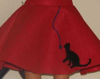 "Red Felt Kitty Cat Skirt, 18"" Doll Clothes, Made in USA fits American Girl, Our Generation Dolls"