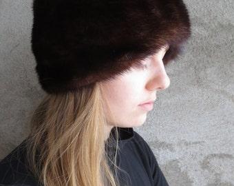 Vintage Mink Fur Hat 1970's, Vintage Dark Brown/Black Mink Fur Hat from 70', Black Retro Mink Women's Hat 70', Vintage Mink Hat, Size 23''