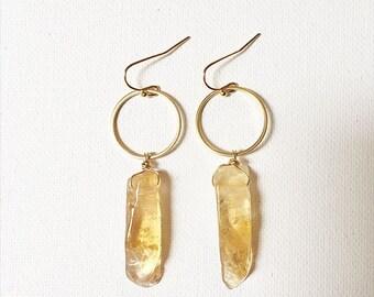 The Leslie Earrings, circle drop crystal earrings