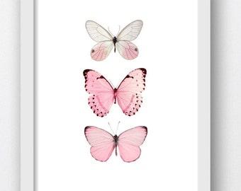 Butterfly Prints, Pink Butterfly, Butterflies Artwork, Butterfly, Nursery Prints, Pink Nursery Artwork, Girls Room Prints, Girl Room Art
