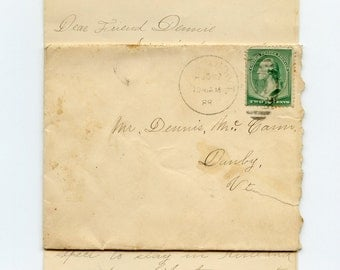 1888 Rutland Vermont Postmarked Cover with 4 Page Friendship or Love Letter Nellie Rooney to Dennis McGann Danby VT SC 213 Stamp - 7520a