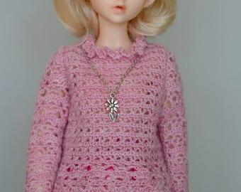 Crochet sweater for minifee, slim MSD 1/4 bjd doll.