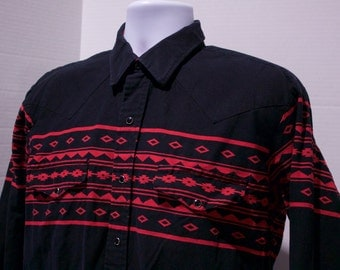 90s Roper Mens Black And Red Western Cowboy Pearl Snap Shirt Size Large