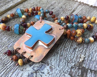 Copper and blue Cross pendant necklace