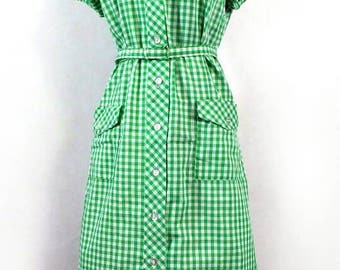 50s 60s House Dress, Vintage Carolina Maid Green White Gingham Belted Dress
