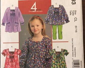 McCalls M5693 - Little Girl's Easy Top or Dress with Gathered Sleeves and Bodice Detail - Size 6 7 8