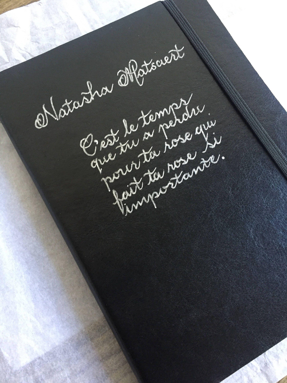 Journal Handwritten In Calligraphy Black Brown Personalised