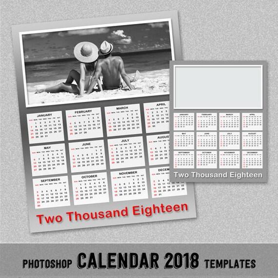 Molto 2018 annuale foto modello di calendario modello di Photoshop ZL94
