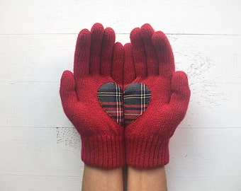 Clothing Gift, Wine Gloves, Heart Gloves, Burgundy Gloves, Valentines Day Gift, EXPRESS Shipping, Gift For Her, Gift For Girlfriend, Plait