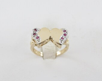 14k Yellow Gold Double Heart Ring Size 6 - Ruby Hearts For Valentines lovers