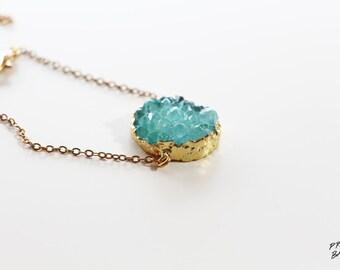 Turquoise Geode Druzy Bracelet Gold