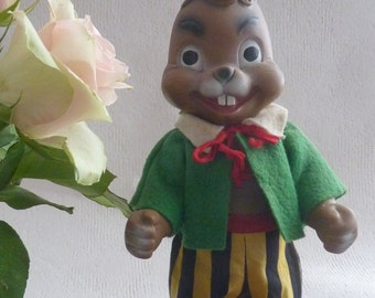 Vintage / old Easter Bunny / rubber / CA. 1960 / original clothes / Germany