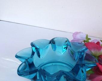 Retro Blue Glass Petal Ashtray