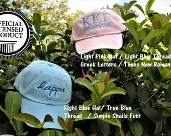 kappa kappa gamma, Sorority hats,  Embroidered Adams Hat, Monogrammed Hat, Fraternity Hats, Distressed Hat, Personalized Hat, Custom Hat