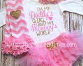 Daddy's Girl Baby Girl Outfit | I'm My Daddy's Girl And My Mommy's World Bodysuit Baby Shower Gift Pink And Gold Glitter Baby Girl Set