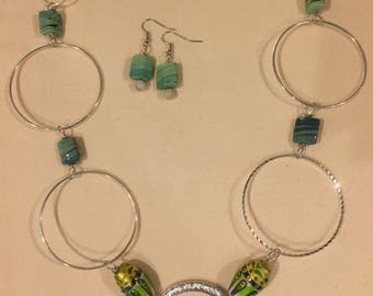 Hand Painted Italian Glass Bead Accented Necklace