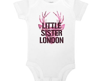 Personalized Name Little Sister Pink Deer Buck Hunting Camo Country Baby One Piece Toddler Kids Children's T-shirt