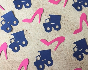 Wheels or Heels Gender Reveal Confetti - Gender Reveal Baby Shower Confetti - Truck and Heel Die Cuts - Gender Reveal Party Decor