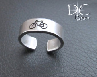 SALE Silver Stamped Ring - Bicycle Ring - Cyclist Gift - Stamped Sterling - Bike Ring - Bicycle Jewelry - Silver Ring - Bicycle Gift