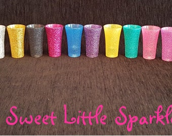 Personalised Sparkly Glitter Shot Glasses - Perfect for Parties, Birthdays, Hen Party and Gifts