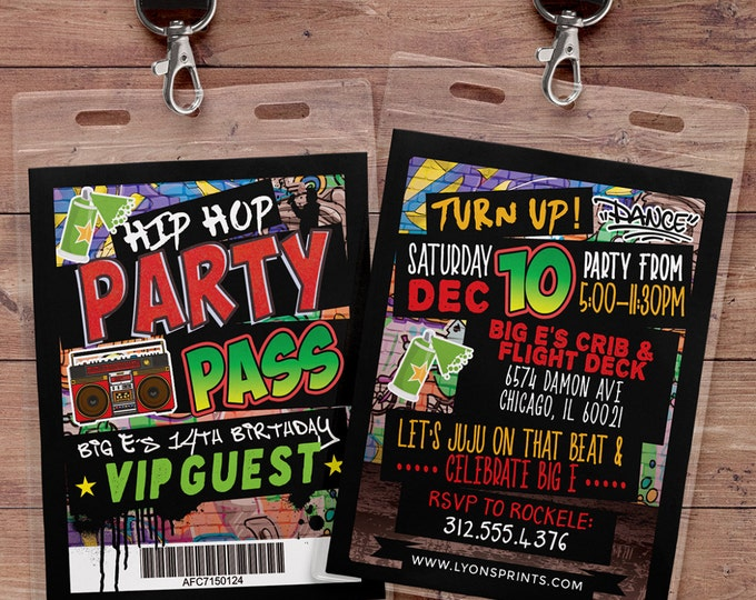 Hip Hop, Swagger, VIP PASS, backstage pass, Vip invitation, birthday invitation, pop star, lanyard, Graffiti, birthday, DJ, 90's party