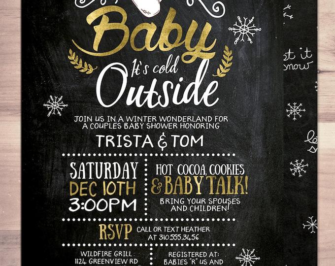 Baby it's cold outside invitation, Winter baby shower invitation. Retro chalkboard  snowflake, couple baby shower, snowflake, hot cocoa