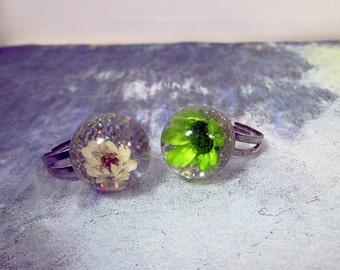 Flower Power Real Dried Flower Ring Resin Flower Ring Adjustable Pressed Flower Jewelry Floral Nature Gift Shabby Chic Jewelry Teen Girl