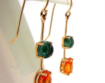 Green Tourmaline and Spessartite Garnet 14k Rose Gold French Hook Earrings