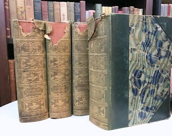 Scott's Works - Sir Walter Scott - The Waverly novels - Abbotsford Edition Deluxe - Antique Book Set - Beautiful Book Set - Marbled Book Set