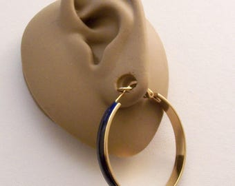 Blue Navy Hoops Pierced Post Stud Earrings Gold Tone Vintage Spring Support Clip Thin Striped Edge