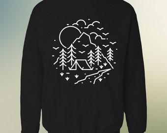 Camping Sweatshirt Sweater , Hiking sweatshirt , Mountain Sweatshirt , Wilderness Explorer , Boy scout gift , Hike more Worry Less .