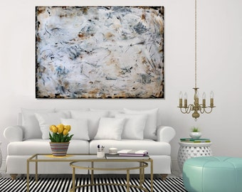 Extra Large Wall Art Modern Abstract Painting Acrylic Textured White