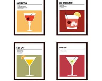 Cocktail Recipe Prints, Set of Four Prints, Vintage Cocktail Prints, Vintage Alcohol Print, Bar Decor, Kitchen Art Prints