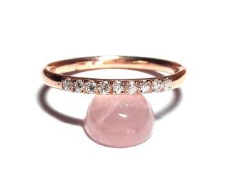 Rose Gold Ring-Dainty Pave Ring-Diamond Ring-Gold Ring-Pave Ring-925K Silver Zirconia Ring