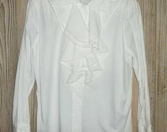Vintage White Ruffle Top M/L Regina Porter Long Sleeve Poet Blouse Lace Accents Covered Buttons 80s