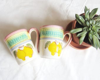 Pair of Vintage Ceramic Lemon Coffee/Tea Mugs - tea cup, fruit, kitsch, made in Italy, citrus, pink, hand-painted