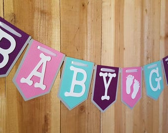 Purple, Pink and Aqua Baby Girl Banner, It's A Girl Banner, Welcome Baby