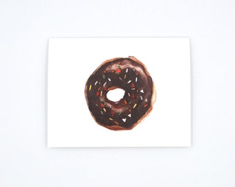 Chocolate Donut Notecard - Donut Art Card - Donut Illustration - Donut with Sprinkles - Watercolor Card -  Blank Notecard - Blank Card