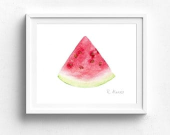 Watermelon Food PRINT, Kitchen Decor, Nursery Wall Art, Daycare Art, Kitchen Wall Art, Food Painting, Food Illustration, Fruit Painting