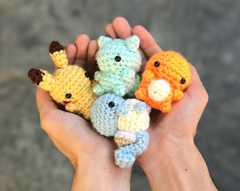 Pokemon Plush - Pokemon Amigurumi - Charmander Plush - Squirtle Plush - Bulbasaur Plush-  Pikachu Plush - Mini Amigurumi